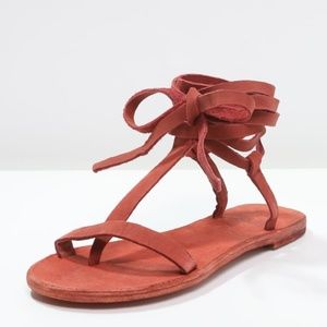 NEW Free People Dahlia Lace Up Sandals in Rust